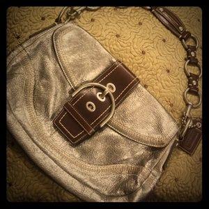 Coach purse Silver Metallic w Espresso Accents